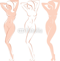 Obrazy i plakaty Three variations of beautiful nude woman silhouette