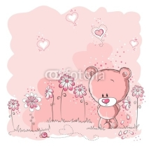Obrazy i plakaty Pink cute bear holding a flower