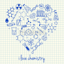 Naklejki Chemistry drawings in heart shape