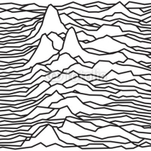 Fototapety The rhythm of the waves, the pulsar, vector lines design, broken lines, mountains