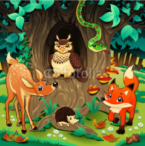 Naklejki Animals in the wood. Vector illustration.