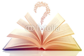Naklejki Opened book with letters flying out of it isolated on white