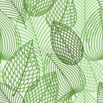Fototapety Seamless pattern of spring outline reen leaves