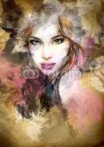Naklejki Beautiful woman face. watercolor illustration