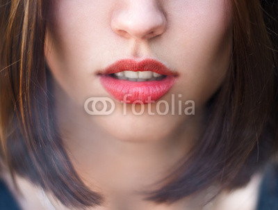 face of a girl with sexy lips
