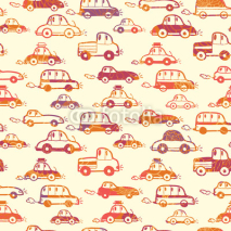 Obrazy i plakaty Vector vibrant cars seamless pattern background with hand drawn