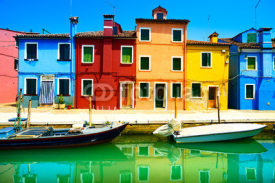 Naklejki Venice landmark, Burano island canal, colorful houses and boats,