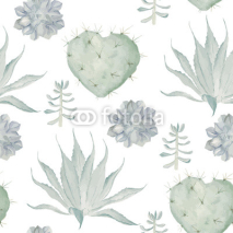 Fototapety  Watercolor cactus print. Seamless pattern