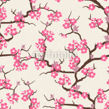 Naklejki Cherry blossom seamless flowers pattern.