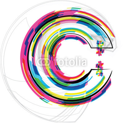 Font Illustration. LETTER C. Vector illustration