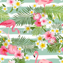 Fototapety Flamingo Background. Tropical Flowers Background. Vintage Seamless Pattern