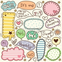 Naklejki cute doodle cartoon words label