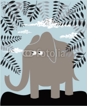 Naklejki Vector background with elephant and foliage