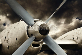 Naklejki Turboprop engine close up, retro aviation technology