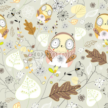 Fototapety seamless graphic pattern of leaves and owls