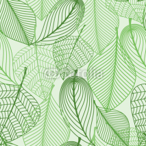Naklejki Green leaves seamless pattern background