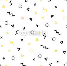 Obrazy i plakaty Seamless patterns in yellow colors with geometric elements. Patern hipster style. Paterna suitable for posters, postcards, fabric or wrapping paper