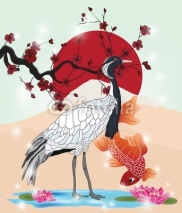 Fototapety oriental picture with crane and koi