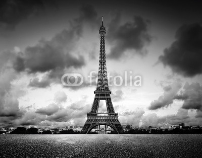 Effel Tower, Paris, France. Black and white, vintage