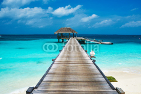 Obrazy i plakaty Beautiful beach with water bungalows