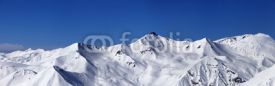 Naklejki Panoramic view on off-piste slopes and blue sky at nice day