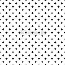 Fototapety Monochrome, black and white abstract crosses seamless pattern background.