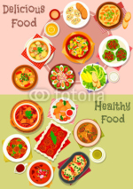 Meat dishes icon set for restaurant menu design