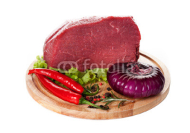 Naklejki .Piece of fresh beef with spices and herbs