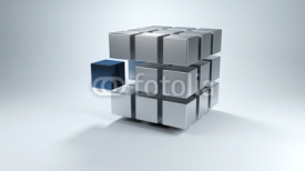 Obrazy i plakaty 3D cube with sections in gray and one in blue