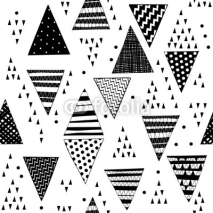 Fototapety Seamless pattern with decorative hand-drawn triangles.