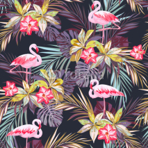 Naklejki Tropical summer seamless pattern with flamingo birds and exotic plants