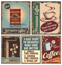 Fototapety Vintage coffee posters and metal signs
