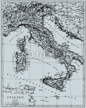 Fototapety Vector Historical map of Italy