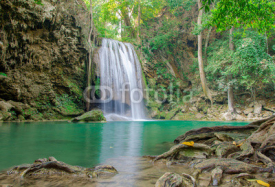 Naklejki Waterfall in Deep forest at Erawan waterfall National Park