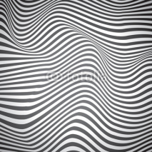 Obrazy i plakaty Black and white curved lines, surface waves, vector design