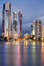 Naklejki modern city at twilight (gold coast, queensland, australia)