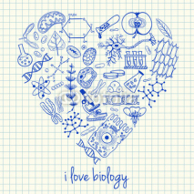 Naklejki Biology drawings in heart shape