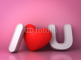 3d I love you concept with red heart on pink background with reflection, valentines day background 3D rendering