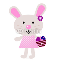 Pink easter bunny with eggs isolated on white