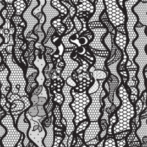 Fototapety Black lace vector fabric seamless pattern with lines and waves