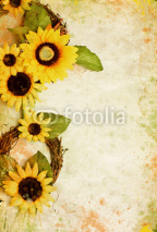 Naklejki Grunge retro background with sunflowers and copy space