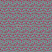 Fototapety Seamless primitive floral pattern with abstract leaves. Tribal ethnic background, simplistic geometry, magenta and turquoise. Textile design.