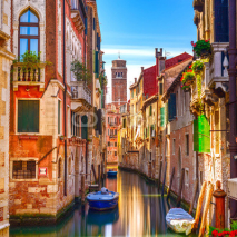 Naklejki Venice cityscape, water canal, campanile church and traditional