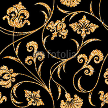 Naklejki floral golden wallpaper