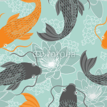 Fototapety Chinese carps seamless pattern