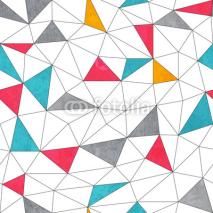 Naklejki abstract color triangle seamless pattern with grunge effect