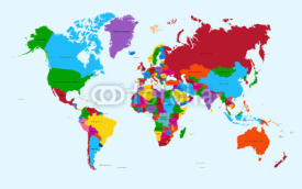 Naklejki World map, colorful countries atlas EPS10 vector file.