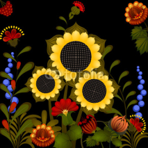 Fototapety Traditional Ukrainian ornament with sunflower. eps10