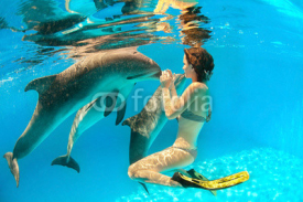 Fototapety Dolphin and girl