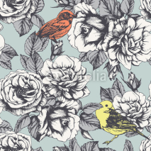 Naklejki Seamless floral pattern with hand-drawn roses and birds. Vector